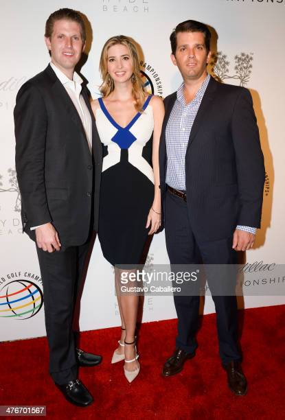 Eric Trump Ivanka Trump and Donald Trump Jr attend The Opening Drive Party at Hyde Beach on March 4 2014 in Miami Florida