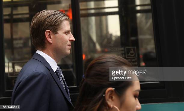 Eric Trump son of President Donald Trump walks outside of Trump Tower on August 15 2017 in New York City Security throughout the area is high as...