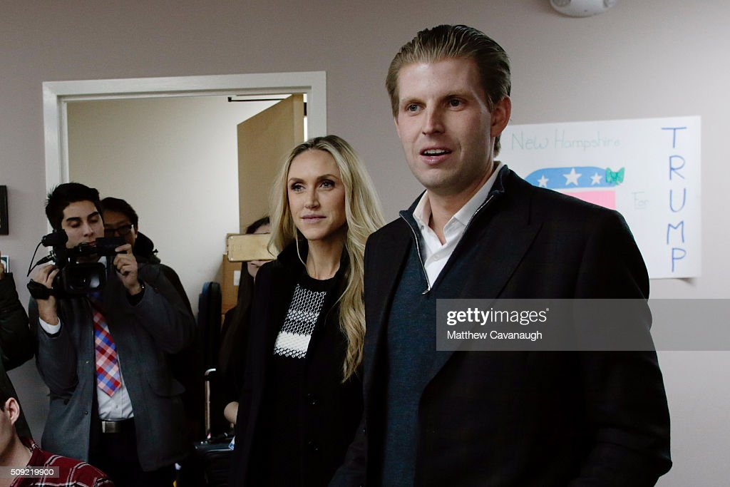 <a gi-track='captionPersonalityLinkClicked' href=/galleries/search?phrase=Eric+Trump&family=editorial&specificpeople=1283906 ng-click='$event.stopPropagation()'>Eric Trump</a> (R), son of Republican presidential candidate Donald Trump, along with wife Lara, thanks volunteers as they make phone calls to New Hampshire voters at Trump's campaign office on February 9, 2016 in Manchester, New Hampshire. Voters throughout the state are heading to the polls as the New Hampshire Primary, also known as the first-in-the-nation primary, continues the process of selecting the next president of the United States.