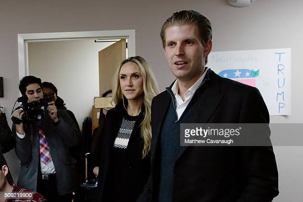 Eric Trump son of Republican presidential candidate Donald Trump along with wife Lara thanks volunteers as they make phone calls to New Hampshire...