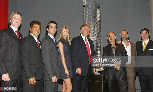 Eric Trump Tevfik Arif Donald Trump Jr Ivanka Trump Donald Trump Tamir Sapir Alex Sapir and Julius Schwarz at the Trump Soho Launch on September 19...