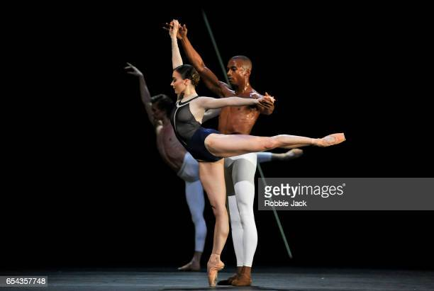 Eric Underwood and Claire Calvert with Vadim Muntagirov in the Royal Ballet's production of David Dawson's The Human Seasons at the Royal Opera House...