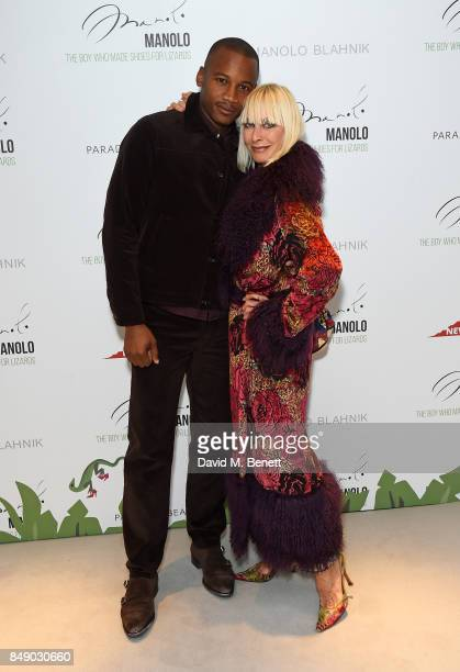 Eric Underwood and Virgina Bates attend the screening of 'Manolo The Boy Who Made Shoes For Lizards' during London Fashion Week September 2017 at...