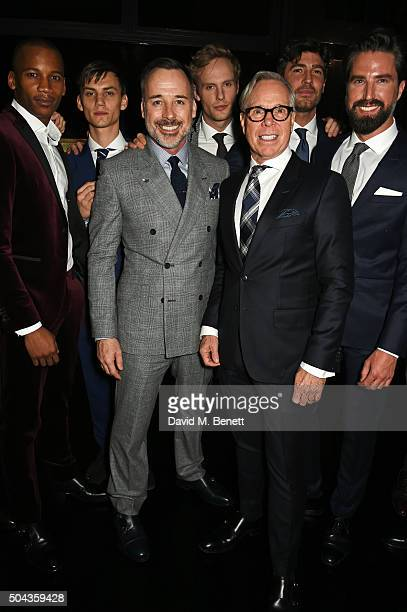 Eric Underwood Josh Ludlow David Furnish Jack Fox Tommy Hilfiger Robert Konjic and Jack Guinness attend a private dinner hosted by Tommy Hilfiger and...
