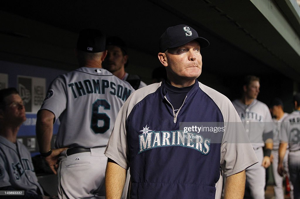 <a gi-track='captionPersonalityLinkClicked' href=/galleries/search?phrase=Eric+Wedge&family=editorial&specificpeople=214257 ng-click='$event.stopPropagation()'>Eric Wedge</a> #22 of the Seattle Mariners reacts during the game against the Texas Rangers at Rangers Ballpark in Arlington on May 29, 2012 in Arlington, Texas.