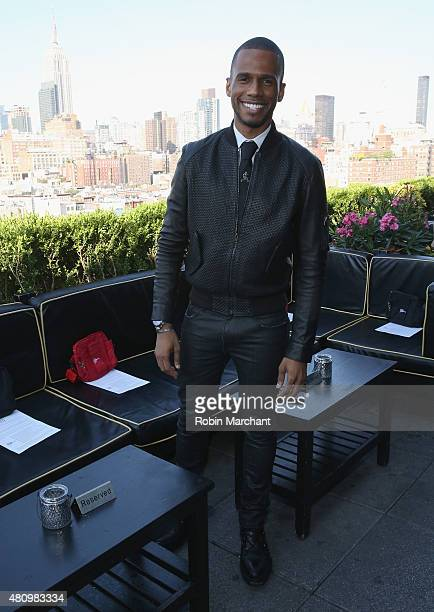 Eric West attends the Sergio Davila show during New York Fashion Week Men's S/S 2016 at PHD at the Dream Downtown on July 16 2015 in New York City