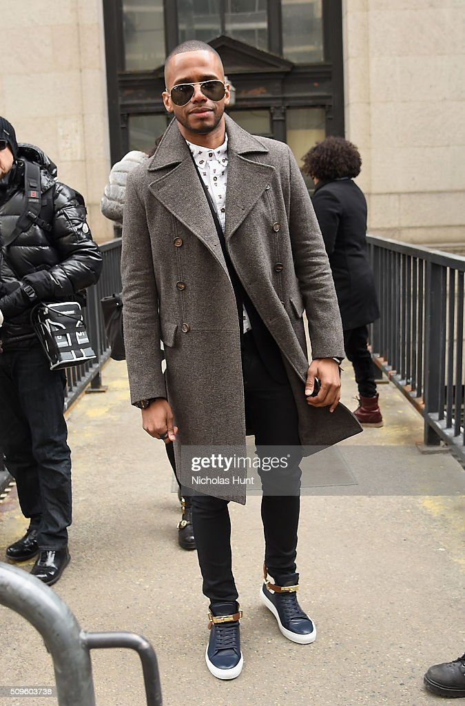 <a gi-track='captionPersonalityLinkClicked' href=/galleries/search?phrase=Eric+West&family=editorial&specificpeople=2580988 ng-click='$event.stopPropagation()'>Eric West</a> poses for Street Style at Desigual fashion show during the Fall 2016 New York Fashion Week: The Shows at The Arc, Skylight at Moynihan Station on February 11, 2016 in New York City.