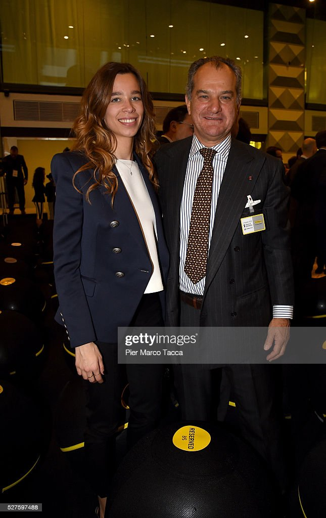 Erica Alessandri and Leonardo Ferragamoand attend the Technogym Listing Ceremony at Palazzo Mezzanotte on May 3, 2016 in Milan, Italy. Technogym is the world leader in the construction of equipment for gyms, founded in 1983 by Nerio Alessandri, and was listed today on the Milan Stock Exchange.