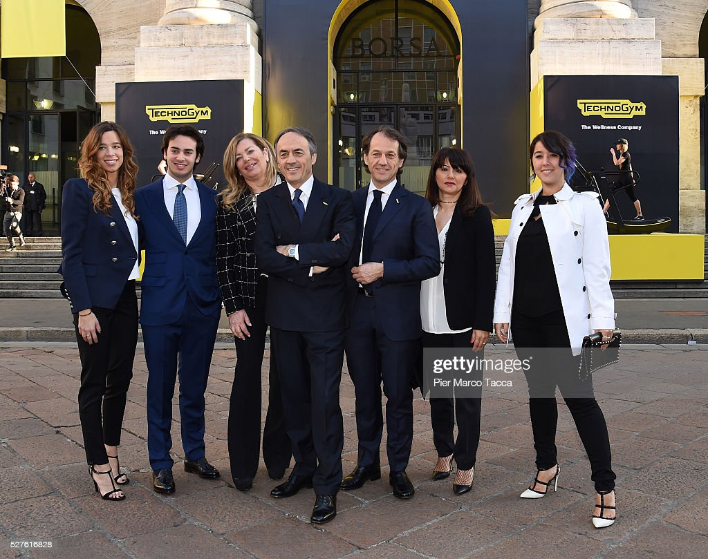 Erica Alessandri, Edoardo Alessandri, Stefania Alessandri, President and founder of Technogym Nerio Alessandri, Pierluigi Alessandri attend the Technogym Listing Ceremony at Palazzo Mezzanotte on May 3, 2016 in Milan, Italy. Technogym is the world leader in the construction of equipment for gyms, founded in 1983 by Nerio Alessandri, and was listed today on the Milan Stock Exchange.