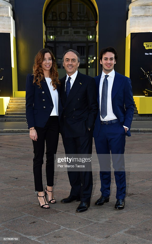 Erica Alessandri, President and founder of Technogym <a gi-track='captionPersonalityLinkClicked' href=/galleries/search?phrase=Nerio+Alessandri&family=editorial&specificpeople=4607198 ng-click='$event.stopPropagation()'>Nerio Alessandri</a> and Edoardo Alessandri attend the Technogym Listing Ceremony at Palazzo Mezzanotte on May 3, 2016 in Milan, Italy. Technogym is the world leader in the construction of equipment for gyms, founded in 1983 by <a gi-track='captionPersonalityLinkClicked' href=/galleries/search?phrase=Nerio+Alessandri&family=editorial&specificpeople=4607198 ng-click='$event.stopPropagation()'>Nerio Alessandri</a>, and was listed today on the Milan Stock Exchange.