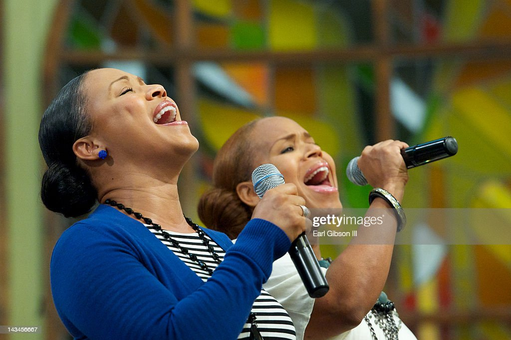 Erica Atkins-Campbell and Tina Atkins-Campbell of gospel duo Mary Mary perform at the NAACP Trayvon Martin Rally on April 26, 2012 in Los Angeles, California.