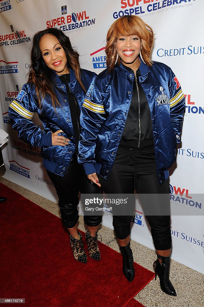 Erica AtkinsCampbell and Tina AtkinsCampbell of gospel duo Mary Mary attend the Super Bowl Gospel Celebration 2014 on January 31 2014 in New York City