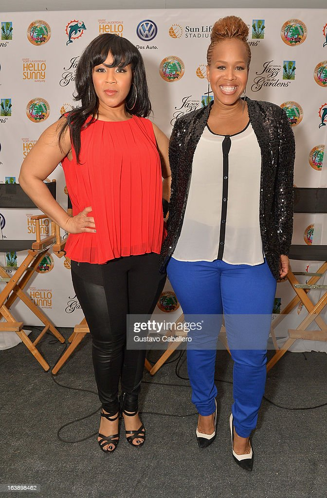 Erica AtkinsCampbell and Tina AtkinsCampbell of Mary Mary attend the 8th Annual Jazz in the Gardens Day 2 at Sun Life Stadium presented by the City...