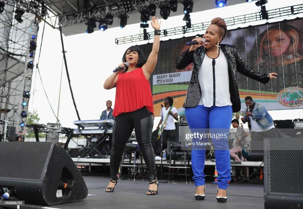 Erica Atkins-Campbell and Tina Atkins-Campbell of Mary Mary perform at the 8th Annual Jazz in the Gardens Day 2 at Sun Life Stadium presented by the City of Miami Gardens on March 17, 2013 in Miami Gardens, Florida.