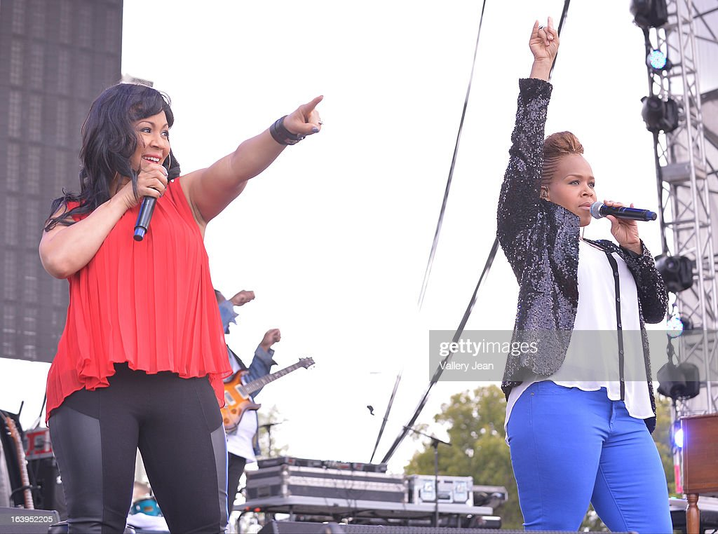 Erica Atkins-Campbell of Mary Mary performs at the 8th Annual Jazz In The Gardens Music Festival - Day 2 at Sun Life Stadium on March 17, 2013 in Miami Gardens, Florida.