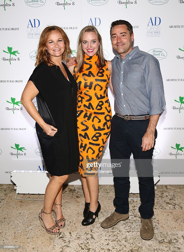 Erica Boeke, Holly Winter and Andrew Coburn attend AD Oasis And Amy Sacco Host Bungalow 8 Party at James Royal Palm Hotel on December 5, 2013 in Miami Beach, Florida.
