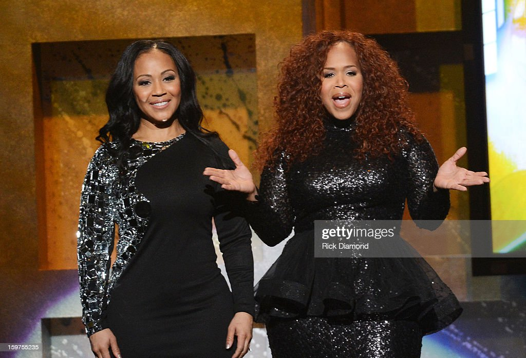 <a gi-track='captionPersonalityLinkClicked' href=/galleries/search?phrase=Erica+Campbell&family=editorial&specificpeople=827874 ng-click='$event.stopPropagation()'>Erica Campbell</a> and Tina Campbell of Mary Mary host the 28th Annual Stellar Awards Show at Grand Ole Opry House on January 19, 2013 in Nashville, Tennessee.