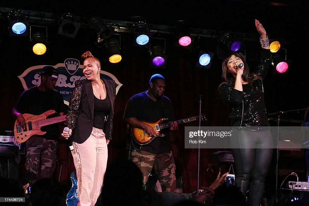 Erica Campbell and Tina Campbell of Mary Mary perform at BB King on July 25 2013 in New York City