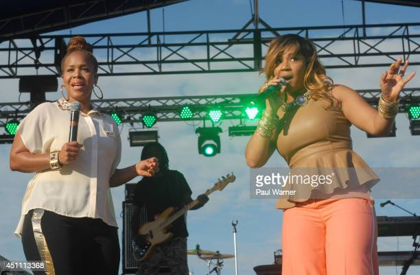 Erica Campbell and Tina Campbell of the gospel group Mary Mary performs during Detroit River Days 2014 at the Detroit Riverfront on June 22 2014 in...