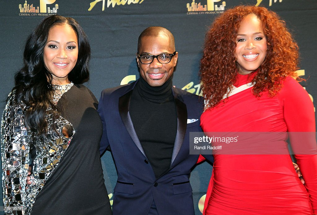 Erica Campbell, Kirk Franklin and Tina Campbell attendttend the 28th Annual Stellar Awards Press Room at Grand Ole Opry House on January 19, 2013 in Nashville, Tennessee.