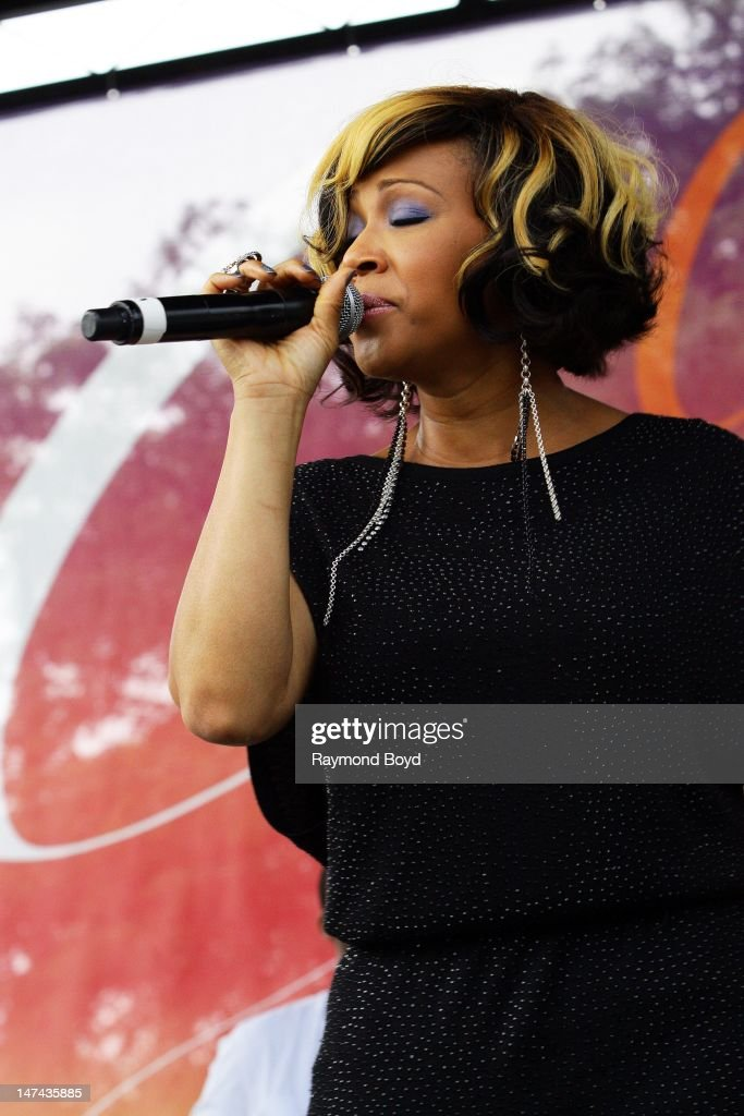 Erica Campbell of Mary Mary performs during the Chicago Gospel Festival in Chicago Illinois on JUNE 24 2012