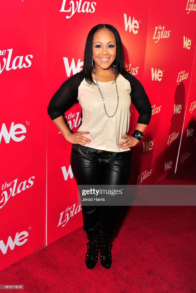Erica Campbell of the group Mary Mary is seen at WE tv's Celebration for The Premiere Of It's Newest Series 'The LYLAS' at the Warwick on November 7...