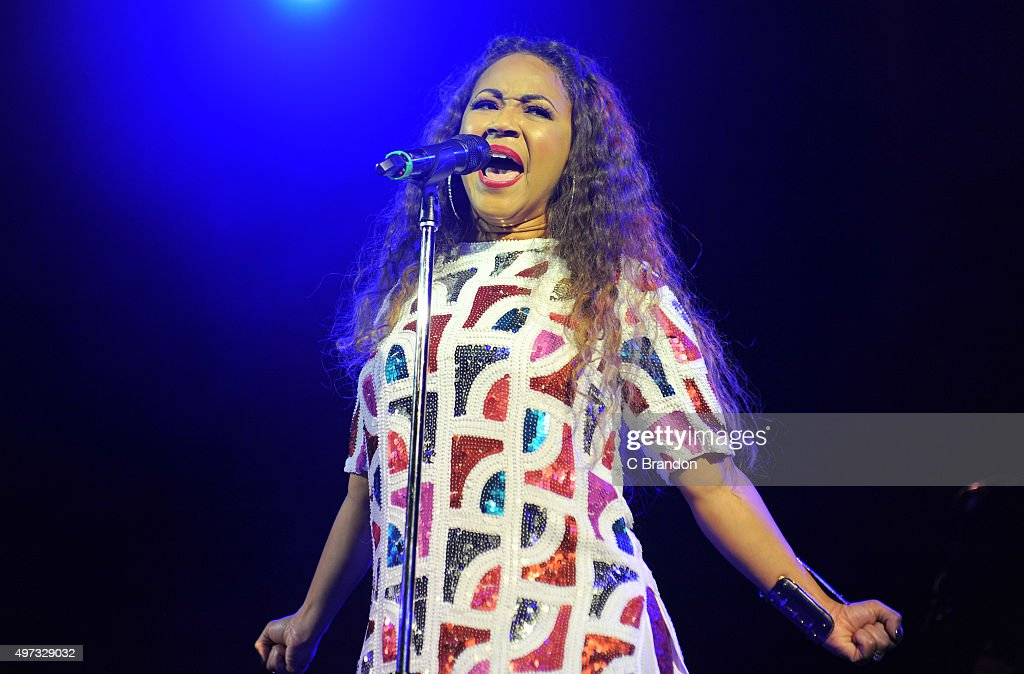 Erica Campbell performs on stage at the O2 Shepherd's Bush Empire on November 15 2015 in London England