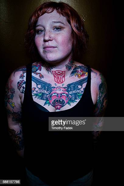 Erica Denny displays her tattoos at the 12th Annual New York City Tattoo Convention at Roseland Ballroom in Manhattan