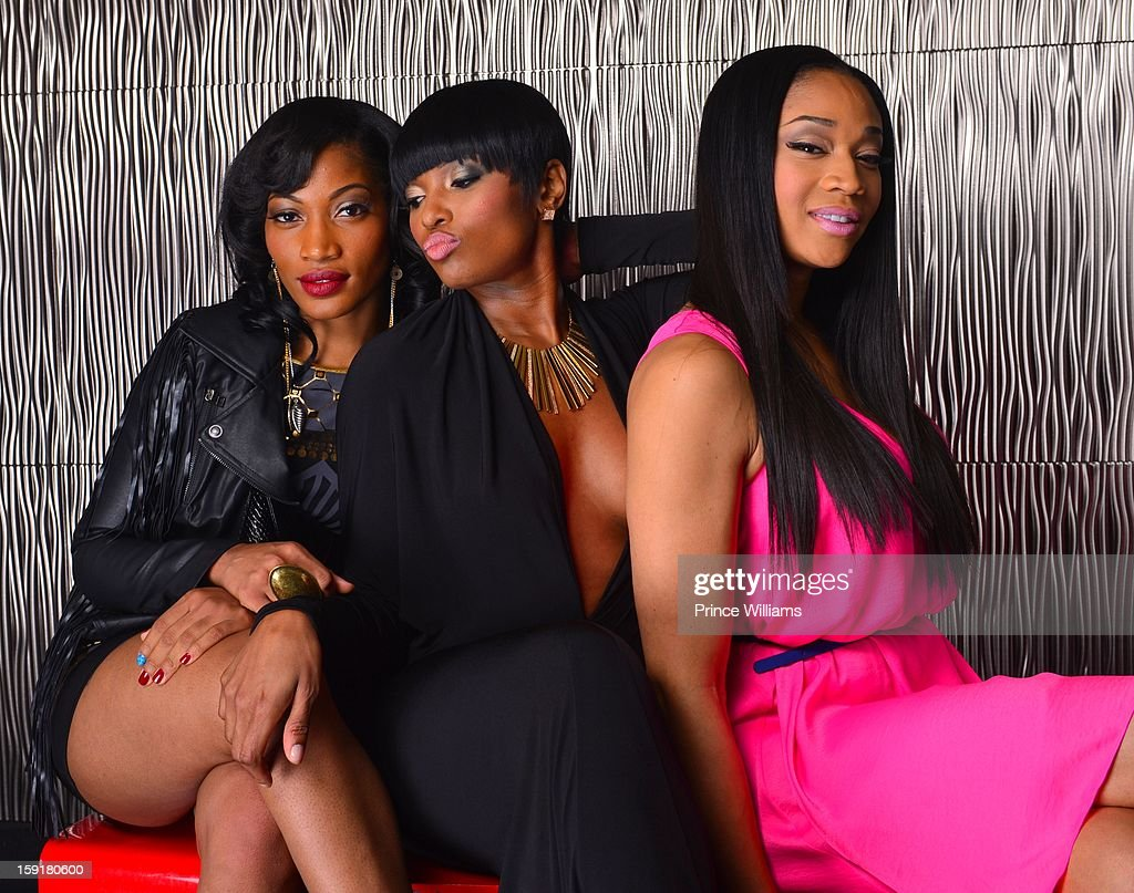 Erica Dixon, Ariane Davis and Mimi Faust attend the birthday celebration of Mimi Faust at Halo Lounge on January 9, 2013 in Atlanta, Georgia.