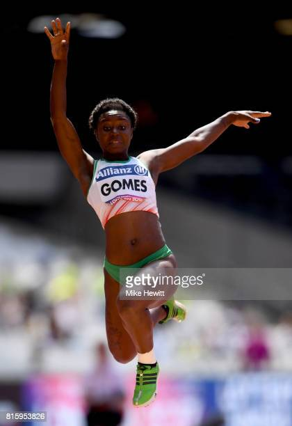Erica Gomes of Portugal competes in the Women's Long Jump T20 Final during day four of the IPC World ParaAthletics Championships 2017 at the London...