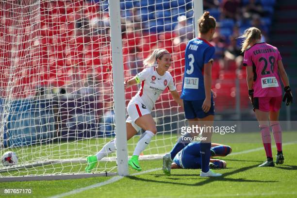 Erica Halloway of the Wanderers celebrates a goal during the round one WLeague match between the Newcastle Jets and the Western Sydney Wanderers at...