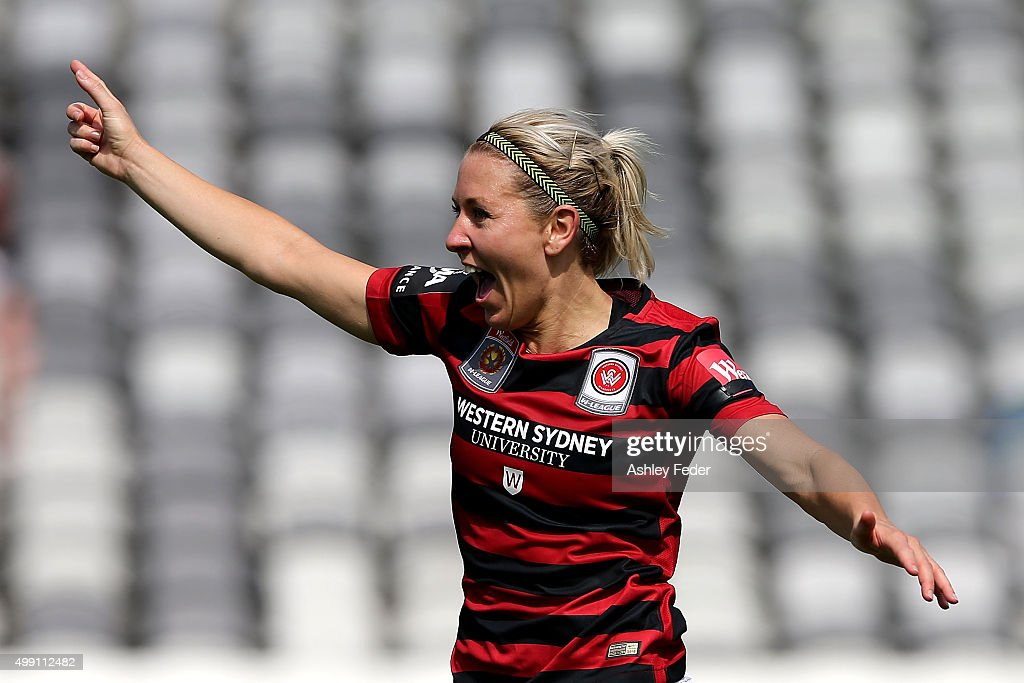 Erica Halloway of the Wanderers celebrates during the round seven ALeague match between the Western Sydney Wanderers and Canberra United at Central...