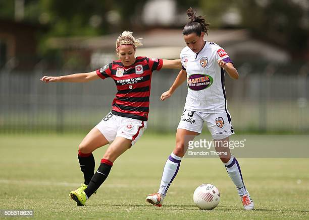 Erica Halloway of the Wanderers competes with Vanessa Di Bernardo of the Glory during the round 14 WLeague match between the Western Sydney Wanderers...