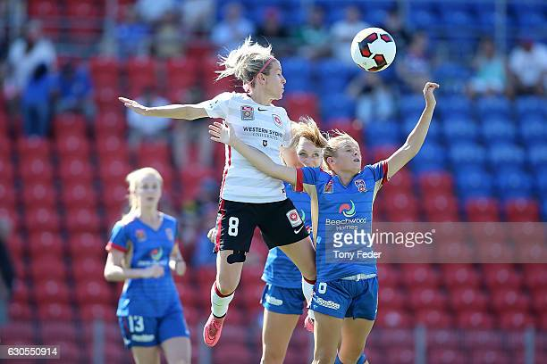 Erica Halloway of the Wanderers contests the ball with Cassidy Davis of the Jets during the round eight WLeague match between Newcastle and Western...