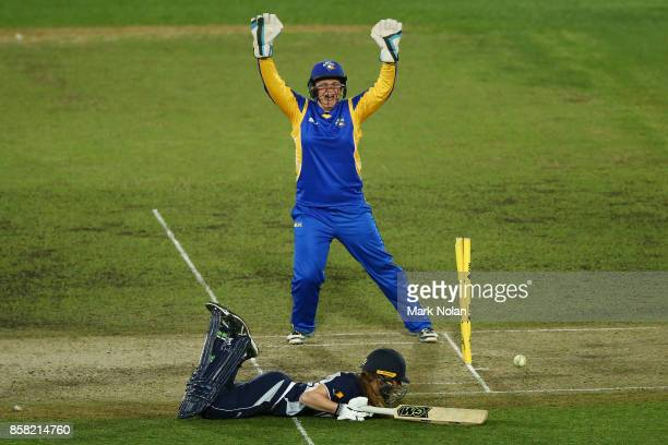 Erica Kershaw of the ACT appeals for the run out of Georgia Wareham of Vic during the WNCL match between ACT and Victoria at Manuka Oval on October 6...
