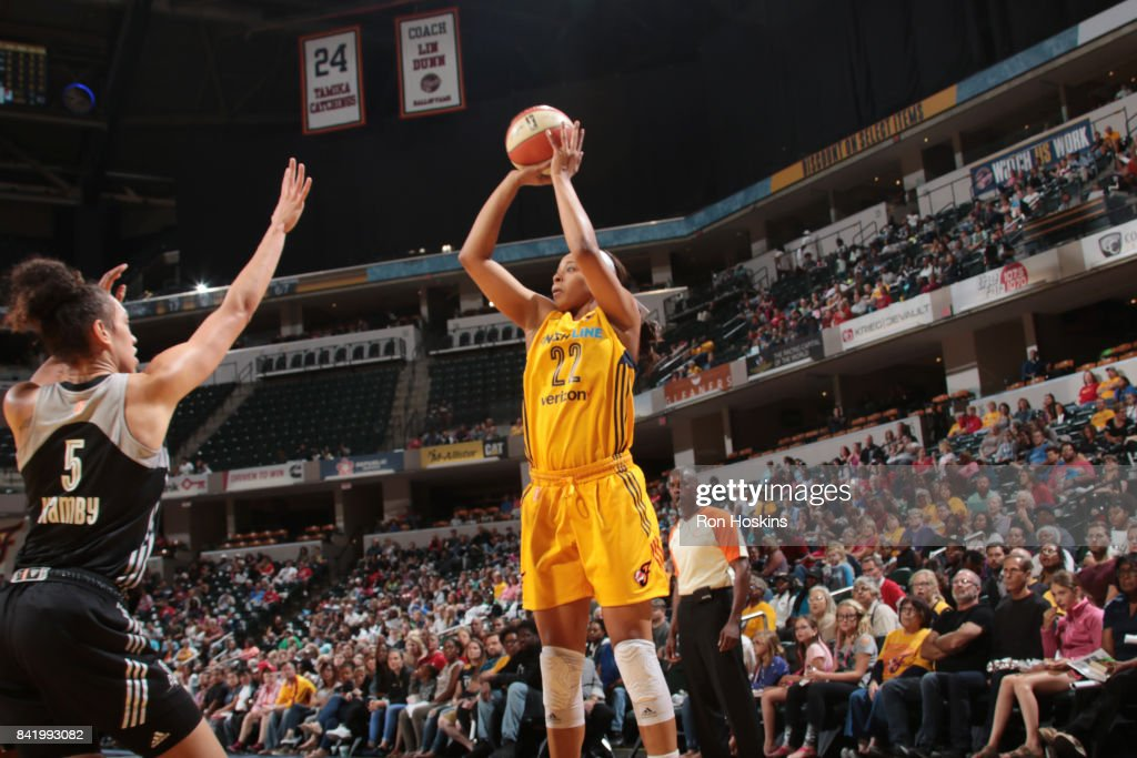 Erica McCall #22 of the Indiana Fever passes the ball against the San Antonio Stars on September 2, 2017 at Bankers Life Fieldhouse in Indianapolis, Indiana.