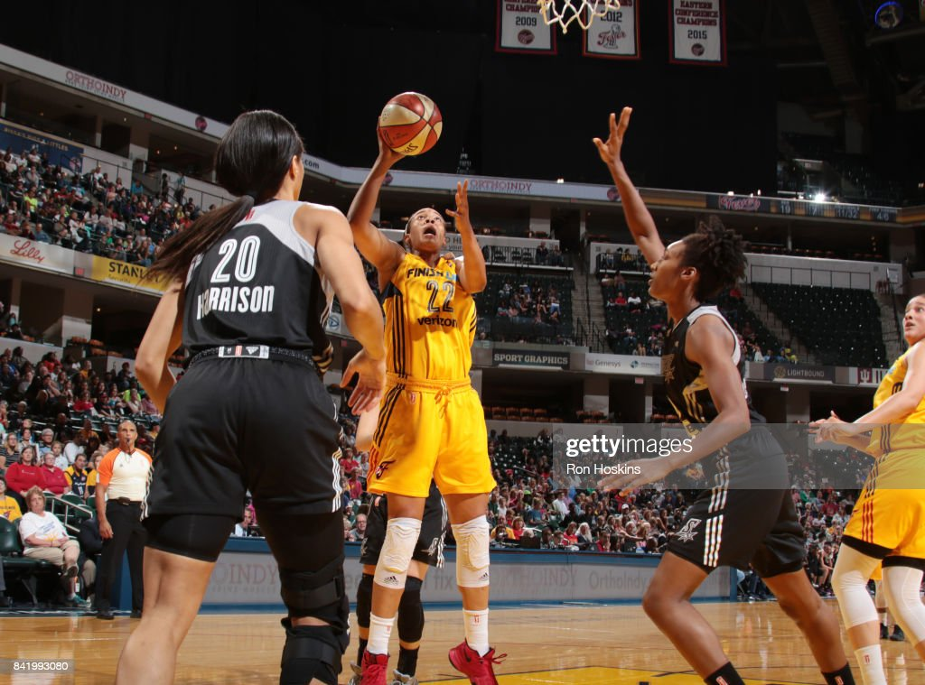 Erica McCall #22 of the Indiana Fever shoots the ball against the San Antonio Stars on September 2, 2017 at Bankers Life Fieldhouse in Indianapolis, Indiana.