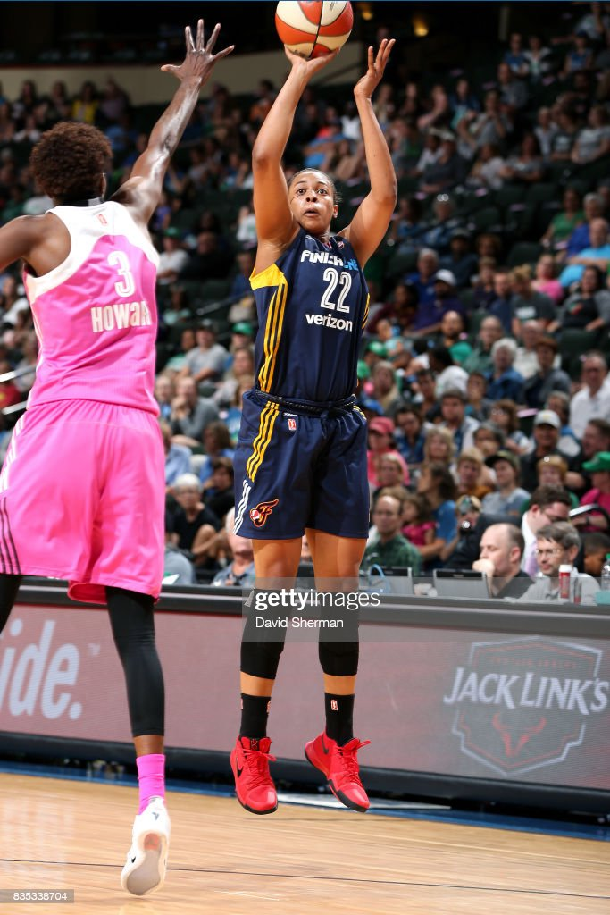 Erica McCall #22 of the Indiana Fever shoots the ball during the game against the Minnesota Lynx during the WNBA game on August 18, 2017 at Xcel Energy Center in St. Paul, Minnesota.