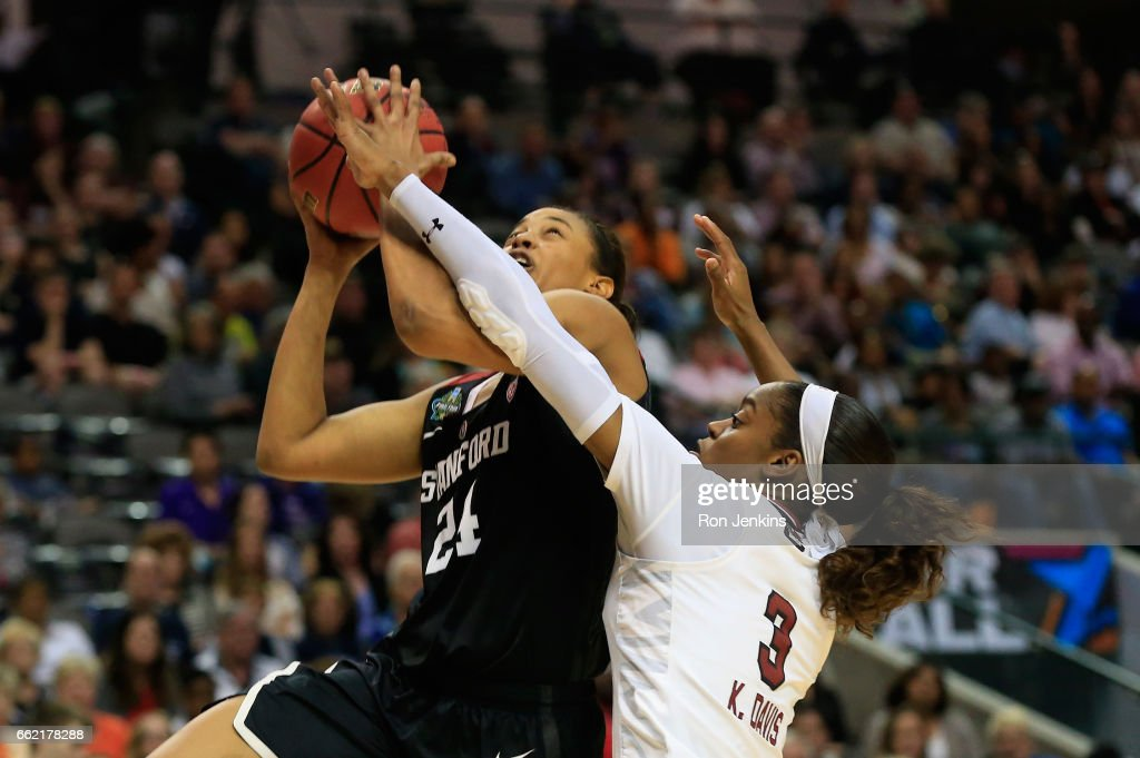 Erica McCall #24 of the Stanford Cardinal shoots against Kaela Davis #3 of the South Carolina Gamecocks in the second half during the semifinal round of the 2017 NCAA Women's Final Four at American Airlines Center on March 31, 2017 in Dallas, Texas. The South Carolina Gamecocks won 62-53.