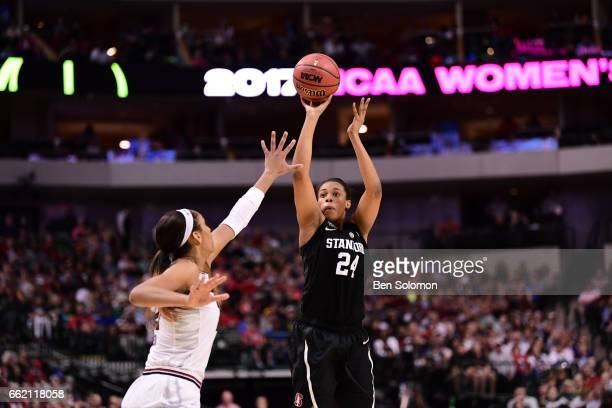 Erica McCall of the Stanford Cardinal shoots during the 2017 Women's Final Four at American Airlines Center on March 31 2017 in Dallas Texas