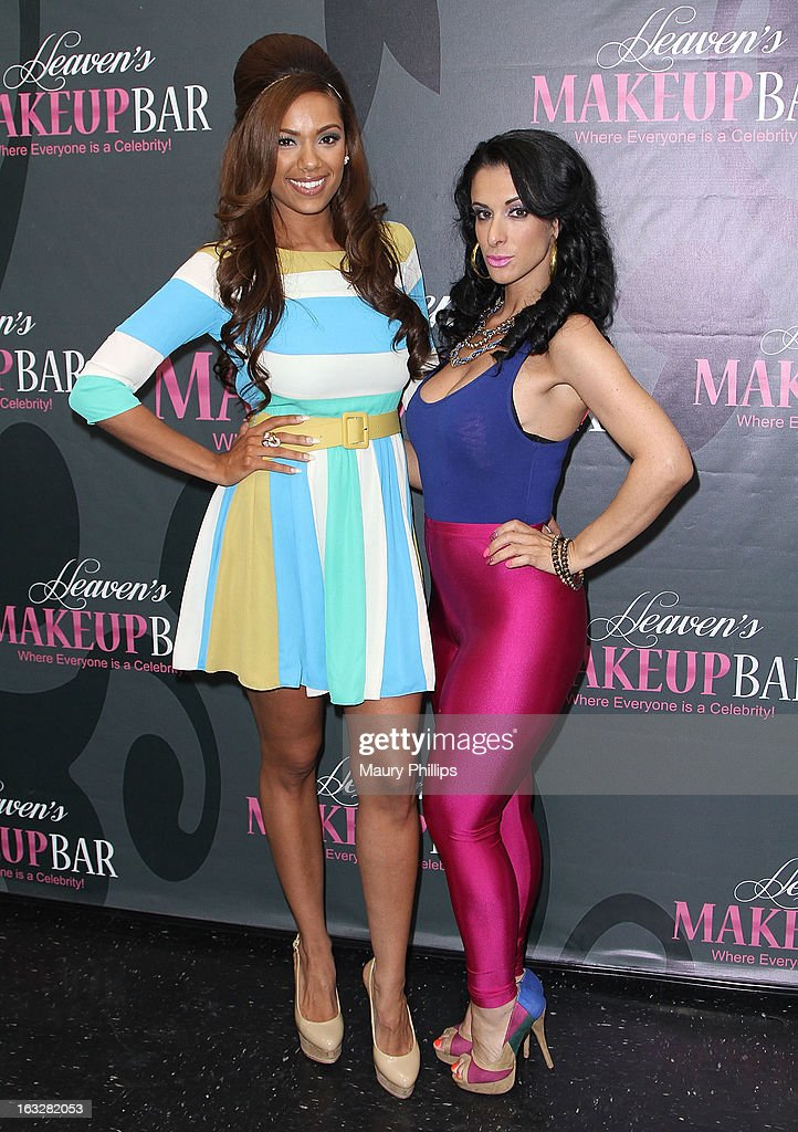 Erica Mena and Lady J attend the launch party for VH1's 'Love & Hip Hop' Star Erica Mena new cosmetic line 'Lady J Cosmetics' at Heaven's Makeup Bar on March 6, 2013 in Burbank, California.