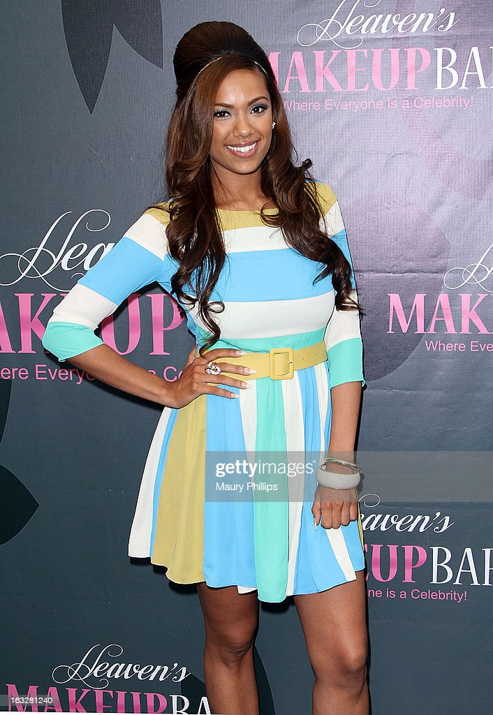 Erica Mena attends the launch party for VH1's 'Love & Hip Hop' Star Erica Mena new cosmetic line 'Lady J Cosmetics' at Heaven's Makeup Bar on March 6, 2013 in Burbank, California.