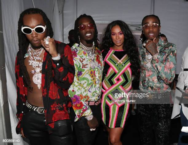 Erica Mena poses with Quavo Offset and Takeoff at the InstaBooth at the 2017 BET Awards at Microsoft Square on June 25 2017 in Los Angeles California