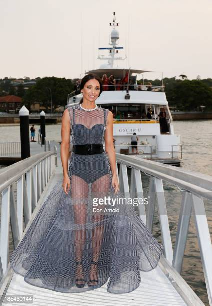 Erica Packer poses before boarding a yacht at a launch event for the November issue of Vogue on October 21 2013 in Sydney Australia