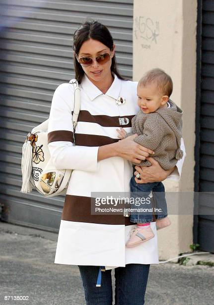 Erica Packer wife of businessman James Packer and their infant child Indigo Packer out and about with friends in Bondi Beach on May 13 2009 in Sydney...