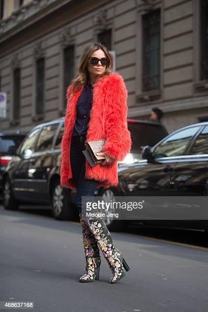 Erica Pelosini enters Ferragamo on Day 5 of Milan Fashion Week FW15 on March 1 2015 in Milan Italy