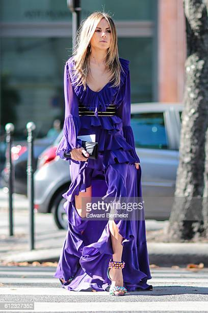 Erica Pelosini is seen outside of the Giambattista Valli show during Paris Fashion Week Spring Summer 2017 at Grand Palais on October 3 2016 in Paris...