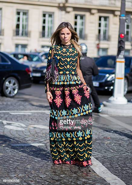 Erica Pelosini Leeman before Valentino during the Paris Fashion Week Womenswear Spring/Summer 2016 on Oktober 6 2015 in Paris France