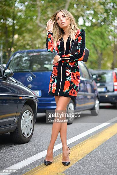 Erica Pelosini poses after the Marni show during the Milan Fashion Week Spring/Summer 2016 on September 27 2015 in Milan Italy
