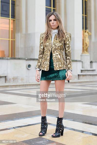 Erica Pelosini poses wearing a Balmain total look during day 3 of Paris Haute Couture Spring Summer 2015 on January 28 2015 in Paris France
